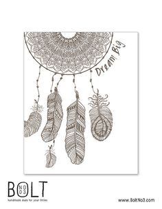 Dream Big  Dream Catcher  Nursery Wall Art Print  Brown by BoltNo3, $9.00