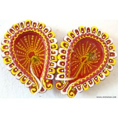 SHOP: http://www.craftsvilla.com/storeutsav Terracotta Gel Diya Drop Shaped-red/orange-set Of 2 - Diyas And Lights by Store Utsav - Online Shopping for Diwali Gifts by Store Utsav
