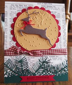 Memory box deer, pine branches