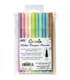Color In Fine Tip Markers 10/Pkg-Pastel