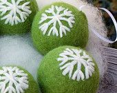 Christmas Ornaments Needle Felted Kiwi Green with Snowflakes