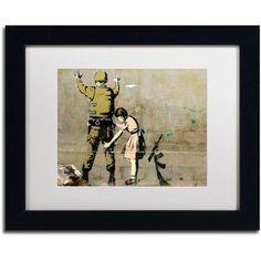 Trademark Fine Art War Canvas Art by Banksy, White Matte, Black Frame, Size: 11 x 14, Multicolor