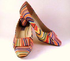 Platinum Collection Pumps High Heels Jade Orange Swirl Retro Psychedilic 7W #PLATINUM #PumpsClassics #Party