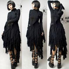 Black Lace Maxi Long Asymmetrical Layer Gothic Fashion Skirts SKU-11406353