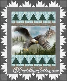 """Eagle panel with piece tree and mountain borders. Panel quilt pattern. Fabric panel surrounded by pieced tree blocks and a mountain block border. Finished Size: Lap/Throw 60"""" x 72"""" Skill Level: Advanced Beginner Technique: Pieced"""