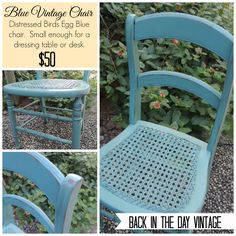 Upcycled and painted Duck Egg Blue vintage chair made by Back In The Day Vintage of Spring, TX  - SOLD