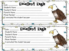 Excellent eagle printables for good students. And 5 missing  assignments form