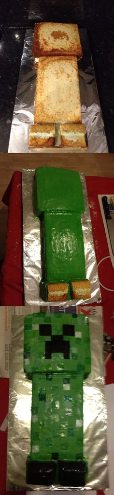 Minecraft Creeper Cake covered mine with M&M's. Minecraft Torte, Minecraft Birthday Cake, Creeper Minecraft, Minecraft Crafts, Minecraft Skins, Minecraft Awesome, Minecraft Stuff, Birthday Crafts, Boy Birthday Parties