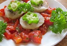 """Noni tomato caprese from """"Food to Live For!"""" by Eric Rivkin, available for purchase at www.vivalaraw.org #lowfatrawvegan #recipes #vegan #rawfood"""