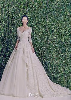 Wholesale Wedding Dresses - Buy Custom Made Gorgeous Lace Zuhair Murad Vintage Wedding Dresses Deep V-Neck 3/4 Long Sleeve A-Line Bridal Gowns With Silk Sash Free Veil, $102.9 | DHgate