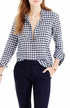 Find J.Crew Crinkle Gingham Boy Shirt (Regular & Petite) from the popular stores - all in one Preppy Fall, Ootd, Blue Gingham, Navy Blue, Gingham Check, Boyfriend Shirt, Shirt Men, Boys Shirts, Workout Shirts