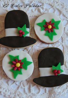 El dulce paladar Galletas sombrero y flor de pascua, fondant