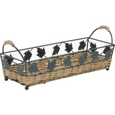 Bread basket wicker and metal
