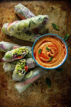 Replace the agave with stevia and you have tasty sugar-free vegan doodle fresh rolls with mango tahini sauce. Great as a lunch or dinner. - I Quit Sugar(Vegan Dip Recipes) Raw Food Recipes, Veggie Recipes, Asian Recipes, Vegetarian Recipes, Cooking Recipes, Healthy Recipes, Noodle Recipes, Free Recipes, Healthy Snacks