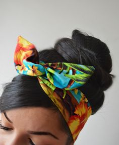 Palm Tree Tropical Floral Dolly bow Headband, hair accessory. 100% cotton. Sewn folded about 32 long with wiring inside for easy adjusting.    Best