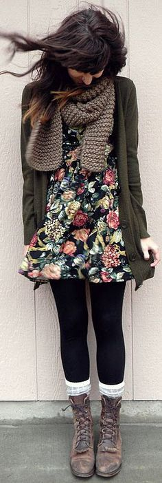 Flowry Dress Fashion With Tights And Boots  by Fun