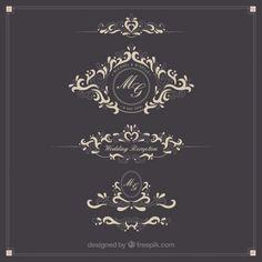 Ornamental wedding Logos Kostenlose Vektoren