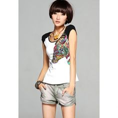 Casual Splicing Blocking Color National Wind Print Cotton Blend Women's T-Shirt