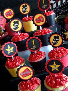 Printable- Hollywood - Academy Awards - Oscar Night - Movie Night  - Cupcake Toppers & Wrappers Set. $8.00, via Etsy.