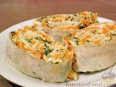 Фото к рецепту: Рулет с корейской морковью