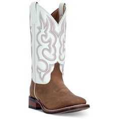 Laredo Mesquite Women's Cowboy Boots, Size: 10 MED, Taupe White ($140) ❤ liked on Polyvore featuring shoes, boots, taupe white, western boots, square toe cowgirl boots, leather boots, faux-leather boots and western cowboy boots