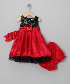 Take a look at this Red & Black Sequin Bow Dress & Bloomers - Infant by Nannette on #zulily today!