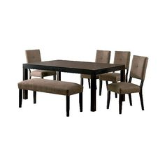6 Piece Rectangular Dining Table Set Wood/Espresso ($1,300) ❤ liked on Polyvore featuring home, furniture, tables, dining tables, brown, extension dining table, wooden kitchen table, square dining table, butterfly leaf dining table and square kitchen table