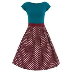 Yvette Raspberry Polka Dot Swing Dress  Vintage Style Dress -Lindy Bop