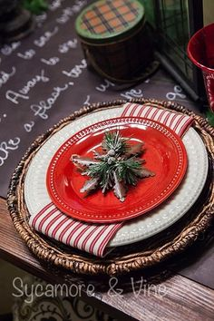 Plaid Country Christmas Table setting with greenery. A truly stunning Christmas Home Tour as part of the Christmas in the Country Blog Tour. This Plaid Inspired Country Christmas will knock your socks off. Features tours of the Living room, Dining Room and a Cocoa hot chocolate bar in the Breakfast room. There is so much inspiration for Christmas decorations in this one post. Be prepared to feel like you are cuddled up by the fire in a warm Northwoods comfy cottage! #country #Christmas ...