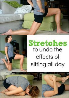 5 stretches to undo the effects of sitting all day - which can cause running injuries and a lower belly! #stretch #fitness