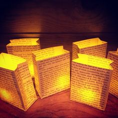 1 Book Page Luminary Book Decor Paper Lanterns by Oldendesigns