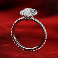"""""""Ada""""  A Classic Micropave  Halo Diamond Engagement Ring"""