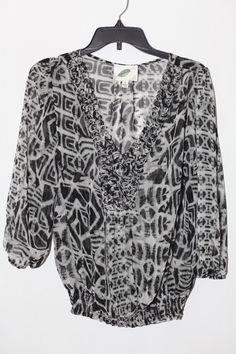 99939a055eb Women's NURTURE Black V Knew Sheer 3/4 Top Woven Airy Blouse Size L #Nurture  #Blouse