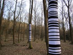 Philippa Lawrence - Barcode: Not as obvious as Zander Olsen, but near where we live, so that's a bonus! Barcode Art, Deep Ecology, Art Et Architecture, Forest Light, Outdoor Play Spaces, Japanese Garden Design, Japanese Typography, Typography Poster, Gardens