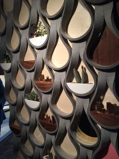Garman Furniture's Felt Droplet is a really cool, wall-mounted system made from thick felt that held plants, shelves, and mirrors. Interior Exterior, Interior Architecture, Wall Exterior, Origami Architecture, Wall Tiles Design, Interior Decorating, Interior Design, Paperclay, Wall Patterns