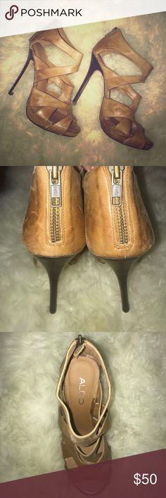 ALDO heels Only worn once! Tan strapped heels. Retractable zipper on back. Goes great with resort wear maxis 🌴 Aldo Shoes Heels