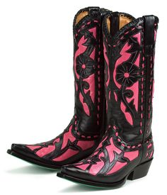 pink & black cowgirl boots I LOVE THESE