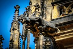Going to Prague and not going to the Prague Castle and the St. Vitus Cathedral is hard. Prague Czech Republic, Prague Castle, Cathedrals, Adventure Travel, Medieval, Lion Sculpture, Europe, Statue, Adventure Tours
