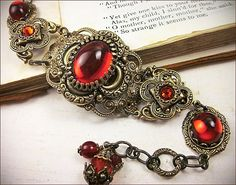 Medieval Bracelet Ruby Red Jewel by RabbitwoodandReason on Etsy