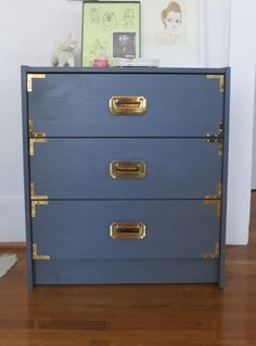 How To: Turn boring Ikea dresser into fabulous retro dresser. Hot pink color looked good too.