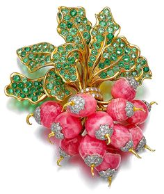 Botte de Radis (Bunch of Radishes) brooch set with rhodochrosite, peridot, and diamonds - René Boivin, 1985.