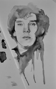 Sherlock Watercolor by lifeinpictureframes. Sherlock John, Sherlock Holmes, Sherlock Drawing, Drawing Sketches, Drawings, Sketching, Learn To Sketch, Muse Art, Pencil Portrait