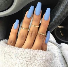 """If you're unfamiliar with nail trends and you hear the words """"coffin nails,"""" what comes to mind? It's not nails with coffins drawn on them. It's long nails with a square tip, and the look has. Acrylic Nails Coffin Short, Blue Acrylic Nails, Simple Acrylic Nails, Summer Acrylic Nails, Matte Nails, Stiletto Nails, My Nails, Simple Nails, Pastel Blue Nails"""