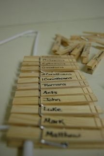"""Clothespin Books of the Bible - Great idea for learning the books of the Bible OR have a race to see who can put them in order first OR put the Old Testament on one side of 1""""-2"""" piece of foam core board or thin wood piece such as a yardstick."""