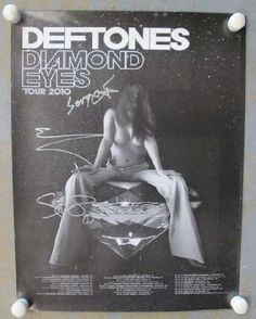 Original AUTOGRAPHED concert poster for The Deftones Diamond Eyes Tour from 2011. Hand-Signed by Stephen Carpenter, Sergio Vega, and Abe Cunningham. 18 x 24 inches. Light handling marks, and edge wear.  Includes a Certificate of Authenticity.