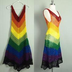 Vtg Rainbow Crochet Chevron Dress Sheer Cutout Hippie Boho Trophy s XS Crochet Skirts, Crochet Clothes, Clothing Patterns, Dress Patterns, Crochet Shawl, Knit Crochet, Mode Crochet, Rainbow Crochet, Chevron Dress