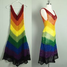 Vtg 70s Rainbow Crochet Chevron Dress Sheer Cutout Hippie Boho Trophy s XS | eBay