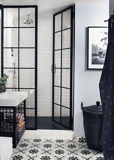 This attic apartment in Stockholm has definitely not only sense of comfort, but also a creative atmosphere. The black and white scheme was complemented ✌Pufikhomes - source of home inspiration Bad Inspiration, Bathroom Inspiration, Bathroom Cabinets, Bathroom Flooring, Bathroom Sinks, Bathroom Showers, Large Bathrooms, Small Bathroom, Black Bathrooms