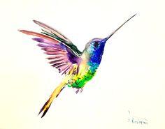 Hummingbird 14 X 11 in original minimalist watercolor art
