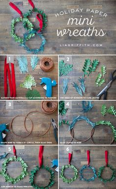 Mini DIY Paper Holiday Wreaths - Lia Griffith - Mini DIY Paper Holiday Wreaths – Lia Griffith Make a wreath for the Holidays using gorgeous metallic papers and printable boxwood and eucalyptus leaf templates designed by Lia Griffith. Noel Christmas, Christmas Paper, Diy Christmas Ornaments, Spring Crafts, Holiday Crafts, Crafts For Teens To Make, Diy And Crafts, Paper Crafts, Geek Crafts